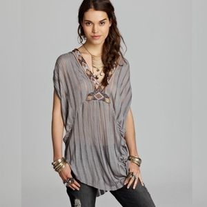 Free people boho top with beading